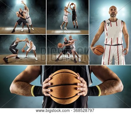 Collage of images with Caucasian Basketball Players in dynamic action with ball in professional sport game.