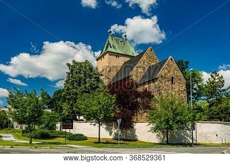 Kyje, Prague / Czech Republic - May 27 2020: View Of The Church Of Saint Bartholomew Made Of Stone S