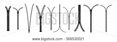 Zip Pulls Or Zipper Pullers, Black Zip Lock Stock Collection Isolated On White Background. Closed An