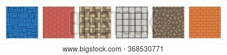 Texture Game Brick Surface, Ice, Bricks Sandy Desert And Dirt Ground Layers For Game Level Design Ve