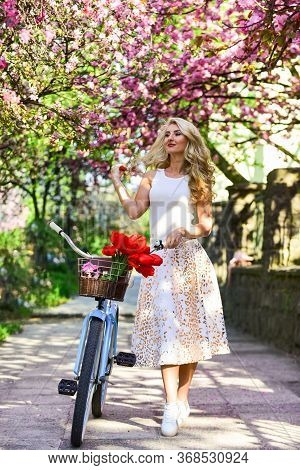 Summer Vacation. Travel Concept. Riding Bicycle. Girl And Sakura Blossom. Cycling Tours. Bike Ride A