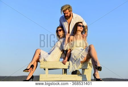 Rooftop Party. Stylish Hipster And Women White Clothes. Women And Man Cuddling. Summer Holidays. Rel