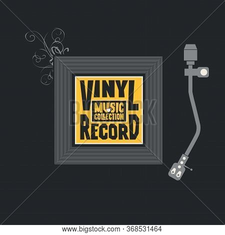 Vector Music Banner With Square Label For Vinyl Record. Decorative Illustration With Record Player A