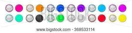 Collection Of Colorful Pin Buttons Isolated On White Background. Round Pinned Badges Tag, Glossy Met