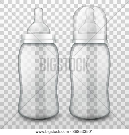 Vector Realistic Baby Bottles With Silicone Nipples For Feeding Newborns, Isolated On Transparent Ba