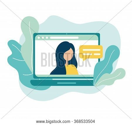 Online Meeting Via Group Call Icon. Woman Talking To Friends, Coleagues In Video Conference At Offic
