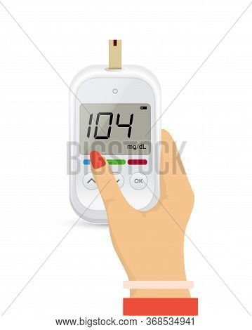 Glucose Sugar Test In Hand Icon. Glucometer Vector Blood Monitor. Diabetes Sugar Meter Insulin Contr