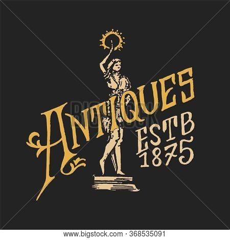 Antique Frame Label. Vintage Golden Card. Shop Badge. Victorian Ancient Western Logo For T-shirt And