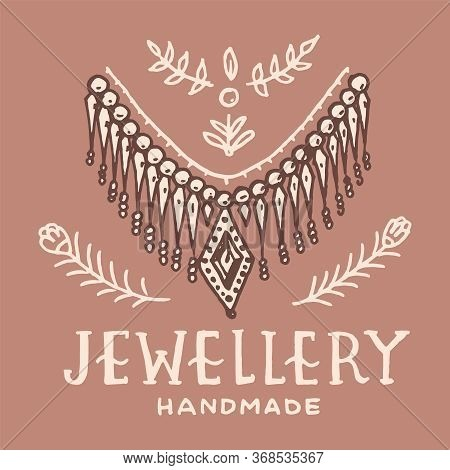 Victorian Necklace Label. Womens Jewelry Shop Badge. Luxury Jewellery Accessories, Ladies Fashion. V