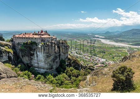 Mysterious Hanging Over Rocks Monasteries Of Meteora, Greece. Holy Monastery Of Varlaam Placed On Th