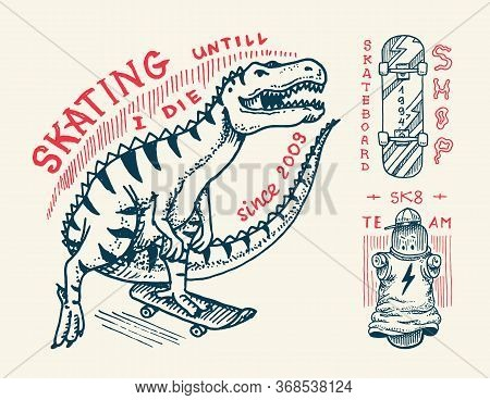 Skateboard Badges And Logo. Vintage Retro Template For T-shirt And Typography. Street Dinosaur And S