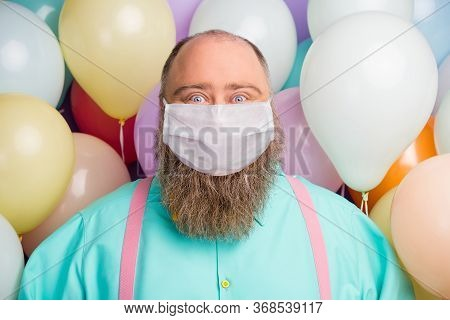 Close-up Portrait Of His He Funny Funky Crazy Bearded Fat Man Enjoy Celebration Anniversary Valentin