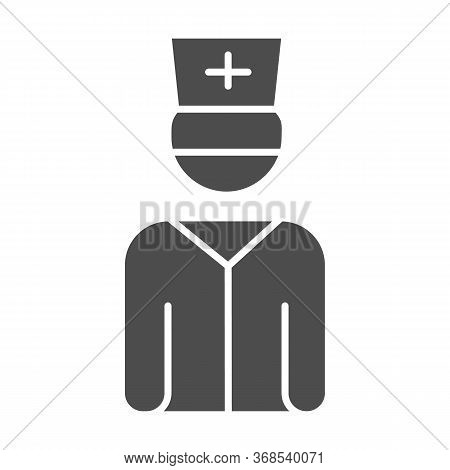 Doctor Solid Icon, Healthcare Concept, Male Practitioner In Uniform Sign On White Background, Medica