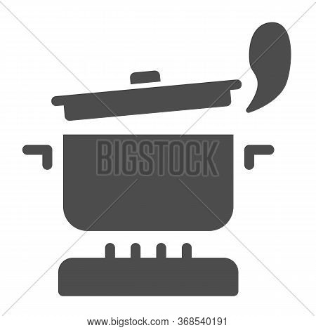 Pan With Steam On The Gas Stove Solid Icon, Cooking Concept, Saucepan On Fire Sign On White Backgrou