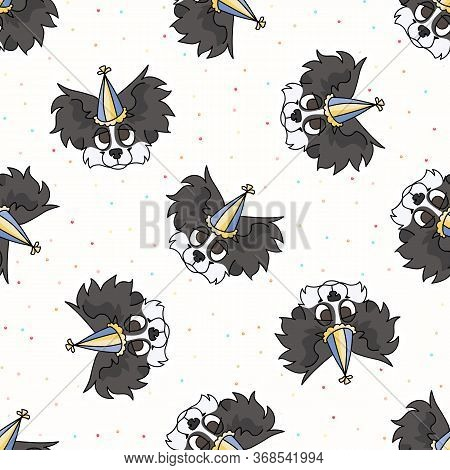 Hand Drawn Cute Papillon Puppy Face With Party Hat Seamless Vector Pattern. Purebred Pedigree Puppy