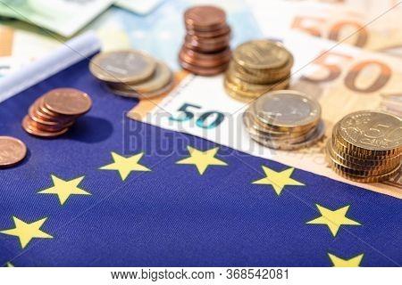 European Union Financial Stimulus On Coronavirus Covid-19 Pandemic Concept. European Union Flag With