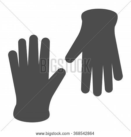 Medical Gloves Solid Icon, Healthcare Concept, Pair Of Surgical Latex Glove Sign On White Background