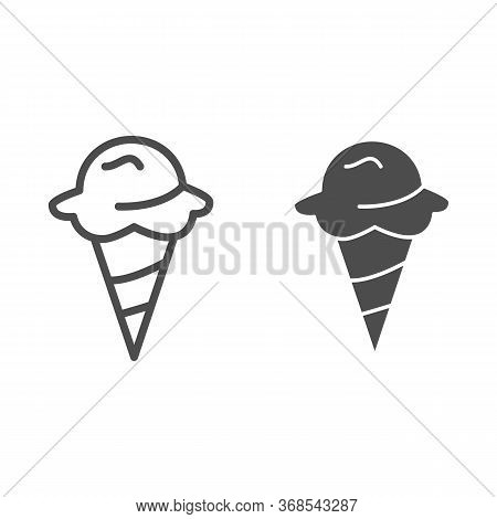 Ice Cream Line And Solid Icon, Confectionary Concept, Ice-cream In Waffle Cone Sign On White Backgro