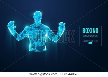 Abstract Silhouette Of A Wireframe Boxer Fighter With Boxing Gloves On The Blue Background. Boxer Is