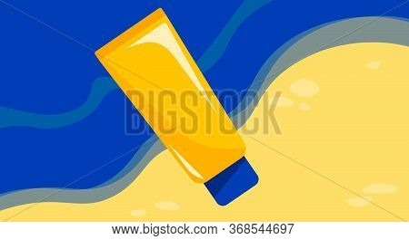 Banner, Ad, Poster Of Sunblock Lying On The Beach. Concept Of Ultraviolet Protection. Illustration I