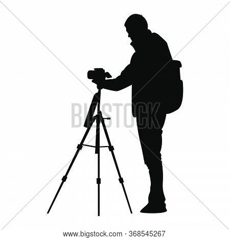 Silhouette Of Photographer Holding Camera With Tripod Vector Illustration