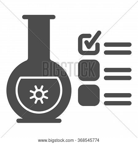Glass Flask For Analysis And Checkmark Solid Icon, Covid-19 Concept, Checklist Clipboard With Tube T