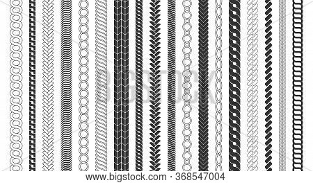 Rope Brushes Frame, Decorative Black Line Set. Chain Pattern Brushes Set Braided Rope Isolated On Wh