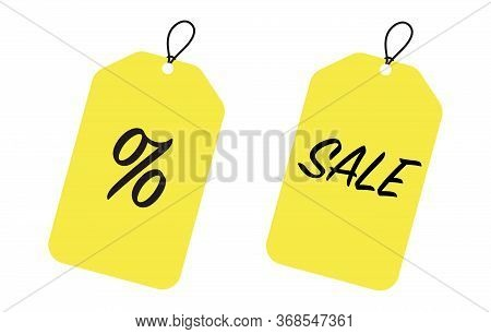 Sale Tags And Labels, Template Shopping Labels. Blank, Discount And Price Tags On Yellow Paper Use F