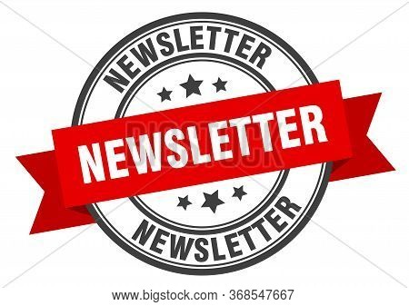 Newsletter Label. Newsletter Red Band Sign. Newsletter