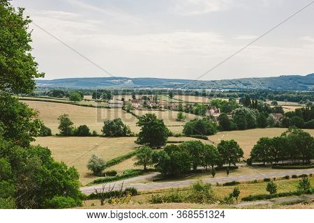 Landscape Summer Rural Scene In France, Region Burgundy. Road And Nature In Old Europe. Countryside