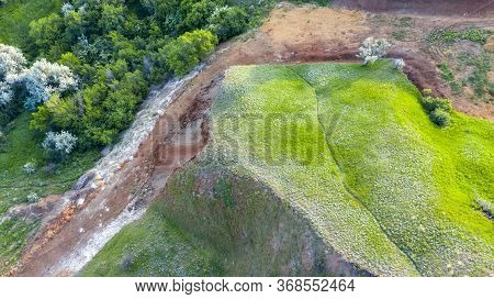 Relief Of A Beautiful Ravine, Mountain Landscape, Aerial View, Drone Shooting