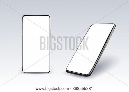 Realistic Smartphone Mockup. Cellphone Frame With Blank Display In Two Different Angles Of View. Iso