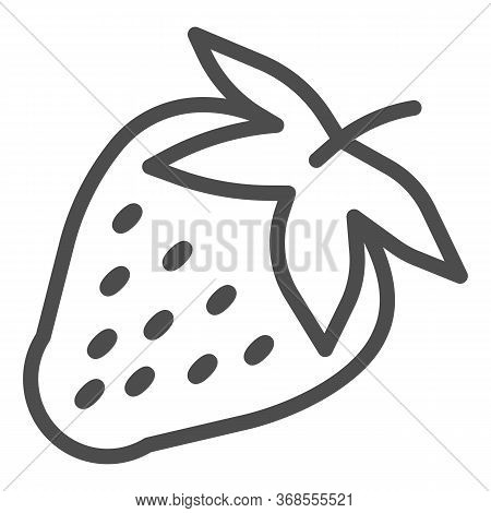 Strawberry Line Icon, Fruits Concept, Strawberries Sign On White Background, Ripe Strawberry With Se