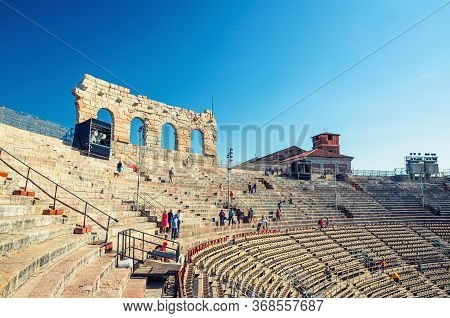 Verona, Italy, September 12, 2019: The Verona Arena Interior Inside View With Stone Stands. Roman Am