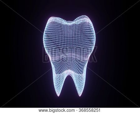 Tooth Wireframe Mesh. Neon Grid Molar. Connection Structure. Dental Medicine, Health Concept. 3d Ill