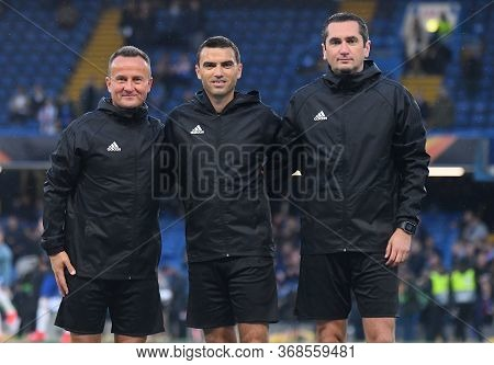 London, England - May 9, 2019: (from L To R) Romanian Fifa Assistant Referee Octavian Sovre, Romania
