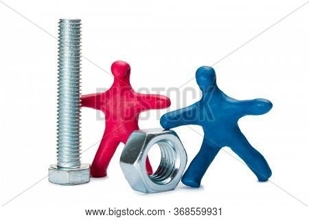 small persons advertise fasteners isolated on white