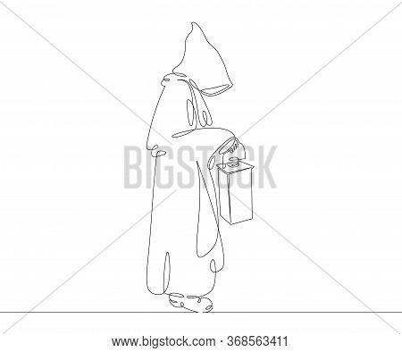 One Continuous Drawing Line Catholic Monk In A Cassock With A Hood Holds An Old Lamp .single Hand Dr