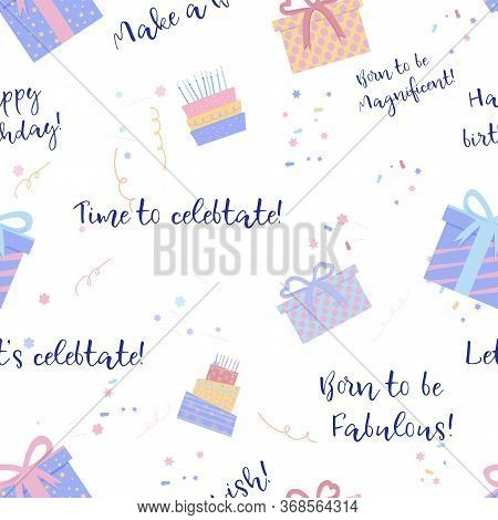 Banner With Wrap Birthday Pastel Pattern On Wight Background. Package Design.