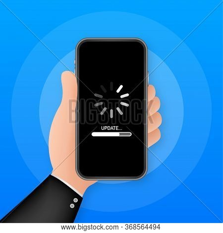 System Software Update, Data Update Or Synchronize With Progress Bar On The Screen. Vector Stock Ill