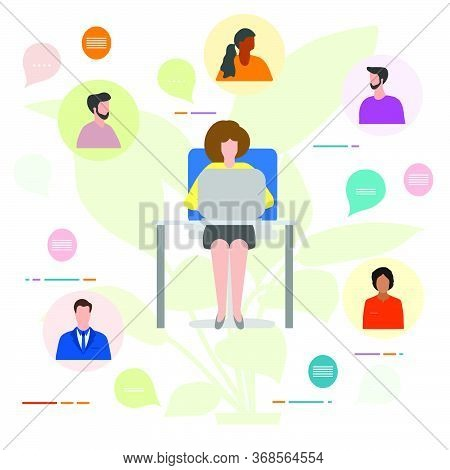 Vector Illustration People Remote Work. Work Chat On Devices. Quarantine Covid-19. Video Conference
