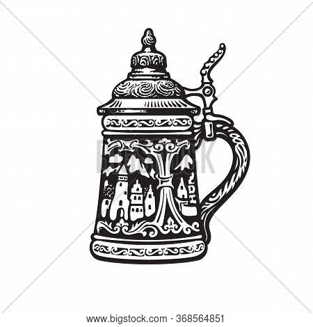 German Stein Beer Mug With Decorations In The Form Of Old Medieval City. Vector Illustration.