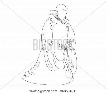 One Continuous Drawing Line Catholic Monk In A Cassock With A Hood Praying On His Knees  .single Han