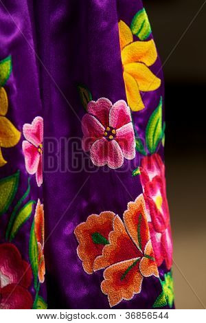 Folkloric Mexican dress detail from Oaxaca, Mexico