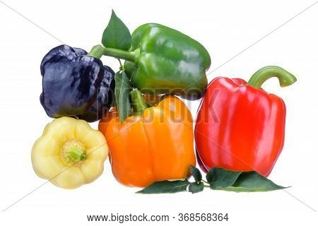 Fresh Vegetables. A Selection Of Bulgarian Pepper Close-up, Lying On Top Of Each Other. Fruits Of Bu