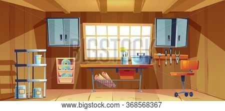 Garage Interior With Tools For Carpentry And Repair Works. Vector Cartoon Illustration Of Workshop O