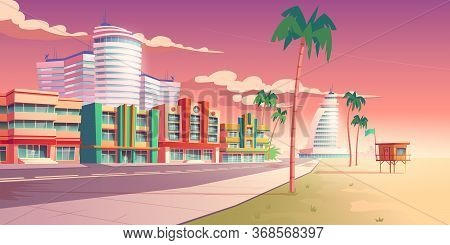 Street In Miami With Hotels, Sand Beach And Palm Trees. Vector Cartoon Tropical Landscape With Build