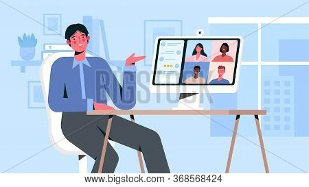 Videoconference With Colleagues. Corporate Video Call, Distant Discussion, Web Chatting, Online Meet