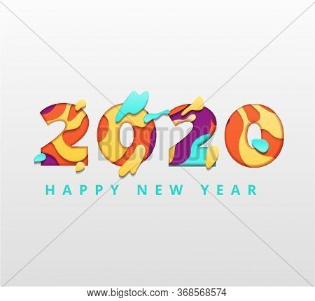 Happy 2020 New Year Rainbow Color Banner In Paper Style For Your Seasonal Holidays Flyers, Greetings