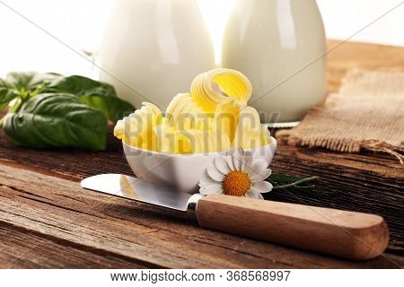 Butter Swirls. Margarine Or Spread, Fatty Natural Dairy Product. High-calorie Food For Cooking And E